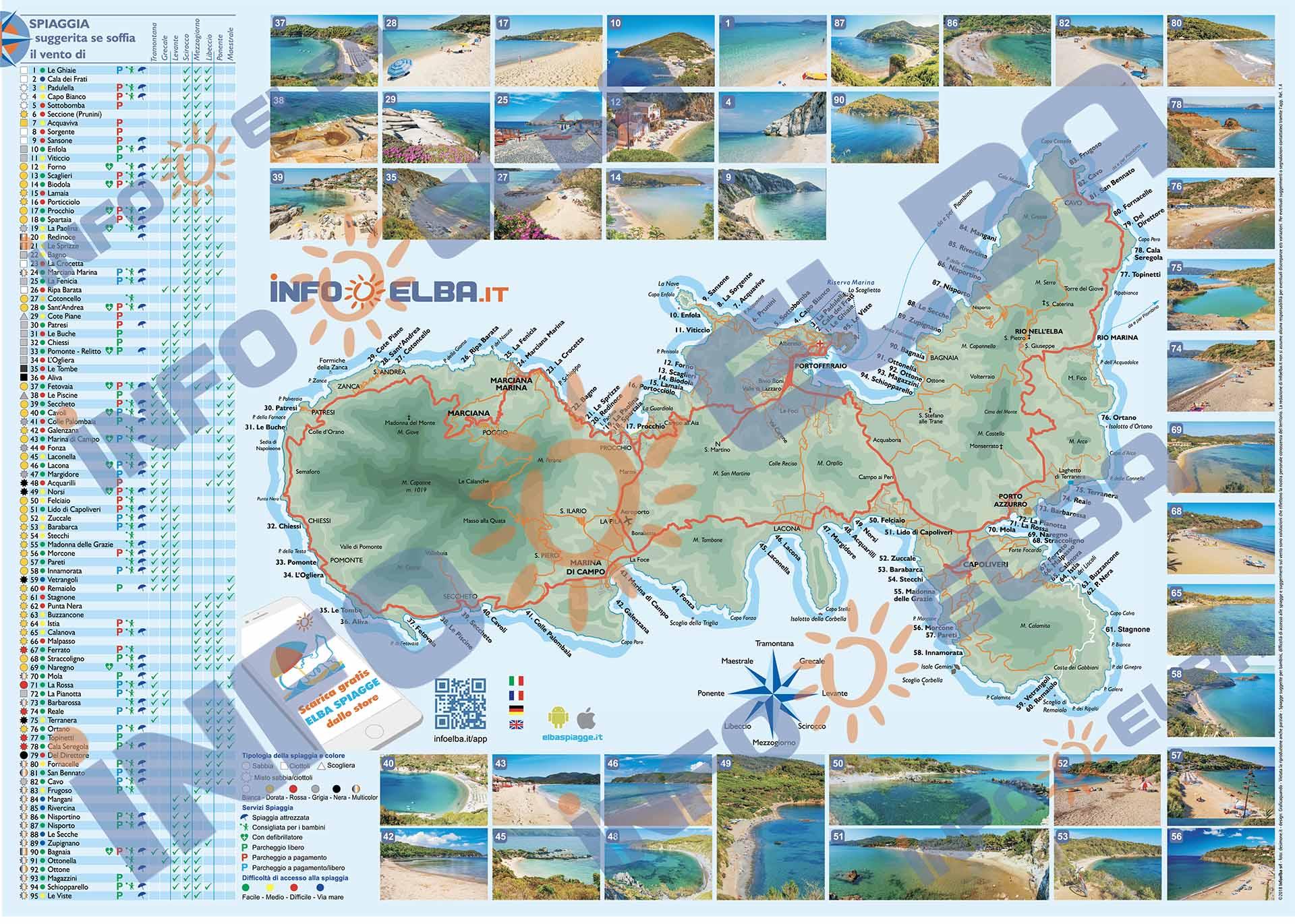 Cartina Elba Spiagge.Cartina Le Spiagge Dell Isola D Elba Infoelba Srl